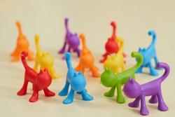 colorful toys made by plastic. animals.