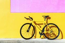 Colorful track bike, Yellow fixed gear bicycle