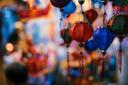 Colorful tradition lantern at chinatown market in saigon, Vietnam. Many kind of Chinese lanterns hanging on street market in mid autumn festival. Royalty high quality free stock image. Vietnam culture