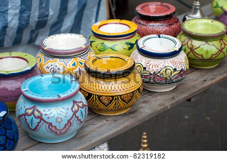 colorful traditional african ashtrays all handmade