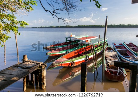 Colorful traditional boats on the Suriname river, Suriname #1226762719