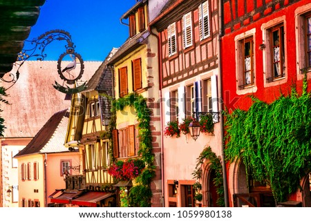 Colorful traditional half-timbered houses of Alsace in France, Riquewihr village