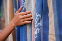 Colorful Traditional hand loom fabric namely Tenun Ikat Sikka from Flores Island Indonesia