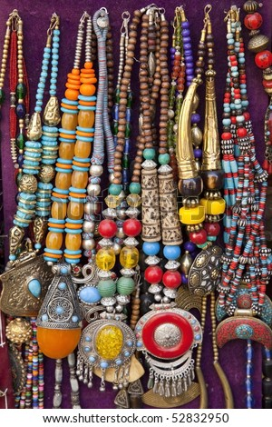 colorful traditional indian jewelry sold at weekly market in Anjuna, Goa ( India)