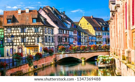 Colorful traditional town Colmar - tourist attraction in Alsace region of France