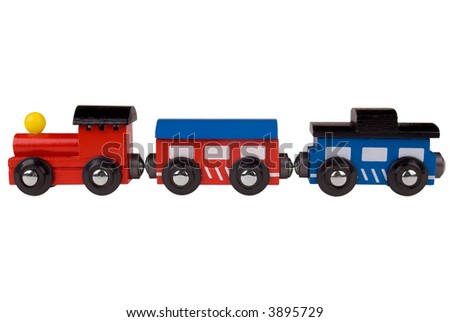 Colorful train toy isolated on white background with a clipping path