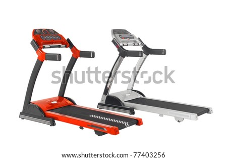 Colorful treadmill running tracks isolated on white background
