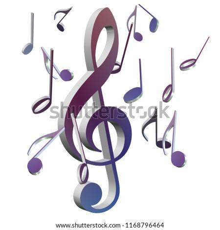 Colorful treble clef, 3D-Illustration