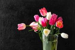 Colorful tulips isolated on black. Flowers with water drops in a glass crystal vase on a black background, horizontal, selective focus.Bouquet of multi-colored tulips in a glass vase.