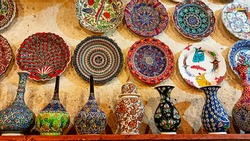 Colorful Turkish traditional ceramic handycrafts in a local pottery shop in Cappadocia