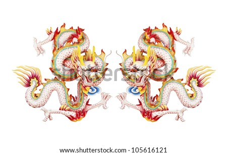 Colorful twin pink dragon statue on white background