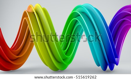 Stock Photo Colorful twisted shape. Computer generated abstract geometric 3D render illustration