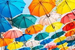 Colorful umbrella background in Taichung, Taiwan