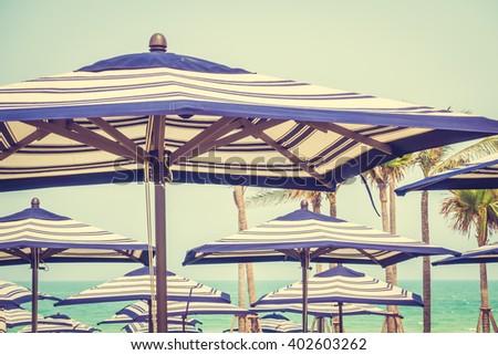 colorful umbrella beach on sky...