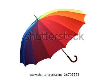 Colorful umbrella isolated on white background with a clipping path