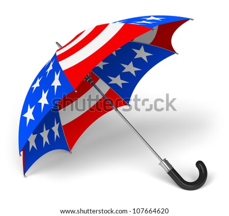 Colorful umbrella with US national flag isolated on white background