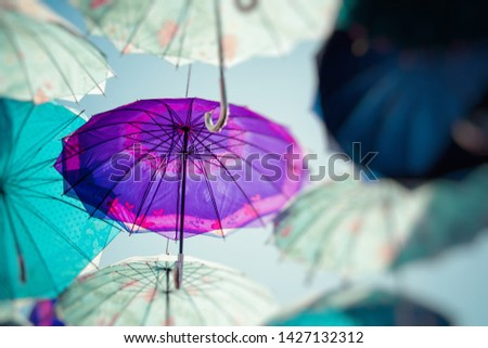 Colorful umbrellas background. Colorful umbrellas in the sky. Street decoration. #1427132312