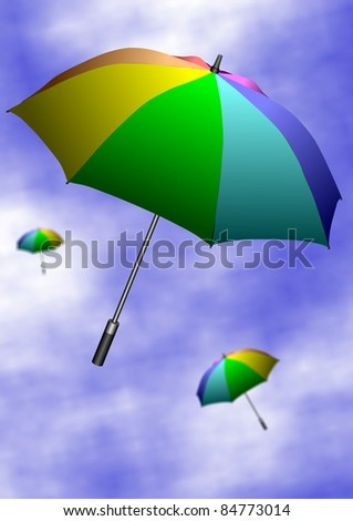 Colorful umbrellas flying up in the air with a blue sky in the background / Umbrellas