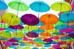 colorful umbrellas make people happy