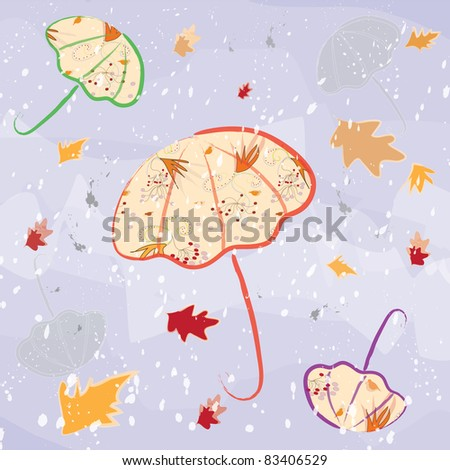 Colorful umbrellas on violet watercolor autumnal background