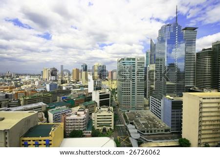 colorful urban buildings at makati business area