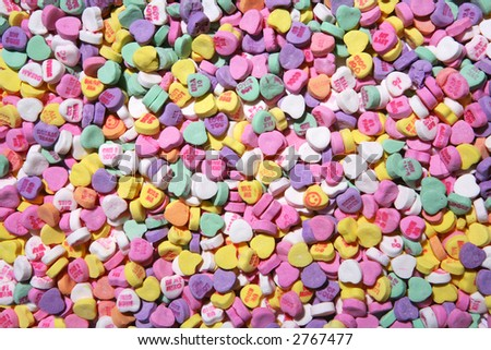 Colorful Valentines heart candy that can be used as a background