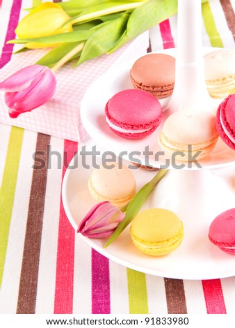 Colorful variety macaroons with tulips