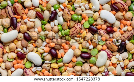 Colorful various dried legumes: lentils bean haricot pea chickpea and other cereals background.