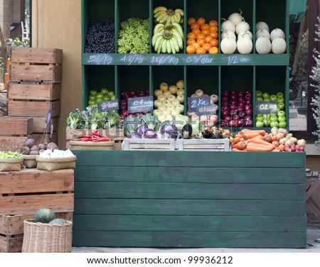 colorful vegetables on market stand
