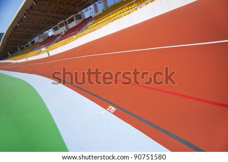 colorful velodrome curve and empty seats