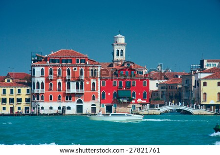Colorful Venice embankment sea view with bridge and belfry