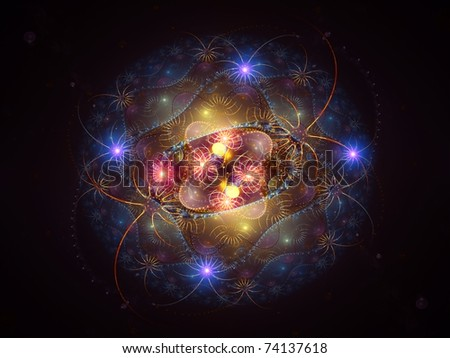Colorful vibrant abstract fractal design on the subject of deep-sea life, magic, fantasy and occult.