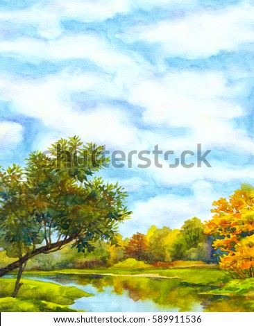 Colorful vibrant hand drawn watercolour sketch drawing on paper backdrop with space for text on blue heaven. Quiet romantic fall day scene. Yellow sallow on bank of calm bay beach view