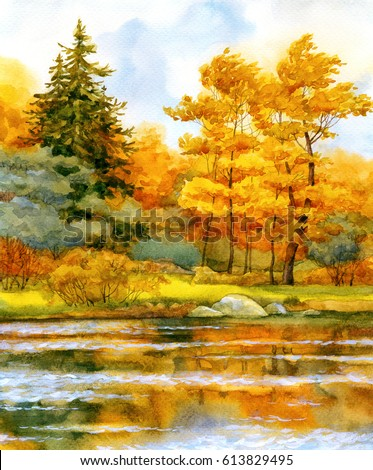 Stock Photo Colorful vibrant hand drawn watercolour sketch drawing on paper backdrop with space for text on light gloaming heaven. Quiet romantic fall daybreak scene. Old orange oak on bank of calm bay beach view