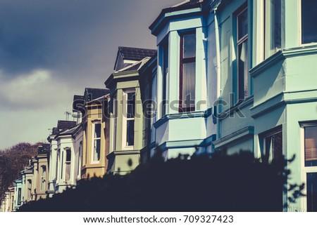 Colorful Victorian Terrace Glasgow Scotland UK Stock fotó ©