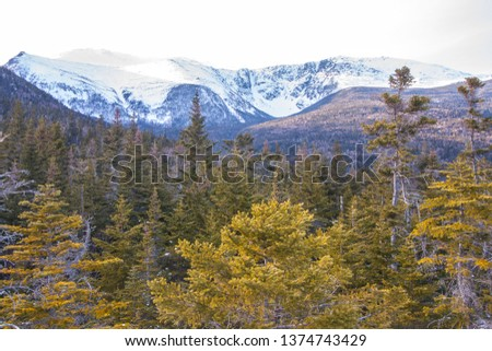 Colorful view from Boott Spur Trail, towards Huntington Ravine and Raymond Cataract on Mount washinoton, New Hampshire