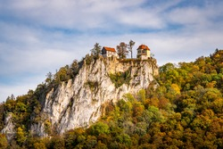 Colorful view of Bronnen Castle on the hiking trail in autumn in the Danube Valley near Beuron in the Sigmaringen district