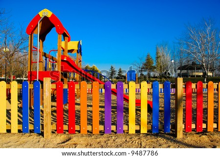 Colorful view of part of a kids playground