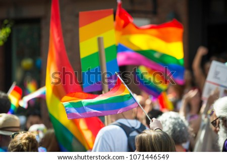 Colorful view of rainbows flags and signs held in an unrecognizable crowd at a gay pride parade in the city