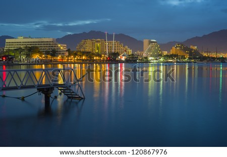Colorful view on the northern beach of Eilat early in the morning