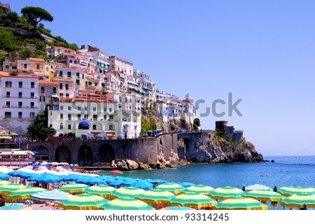 Colorful view over the beach at Amalfi, Italy