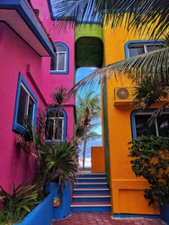 colorful villas in akumal Mexico on the beach