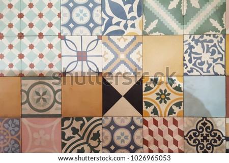 Colorful vintage ceramic tiles wall decoration #1026965053