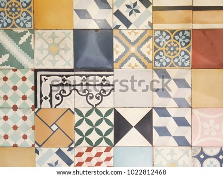 Colorful vintage ceramic tiles wall decoration background #1022812468