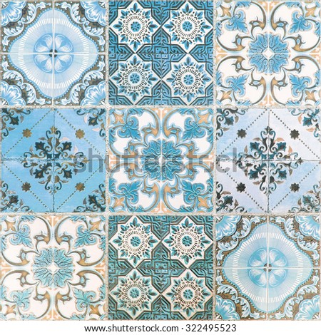 colorful vintage ceramic tiles...