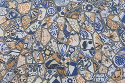 Colorful vintage ceramic tiles wall decoration. Pattern texture background.
