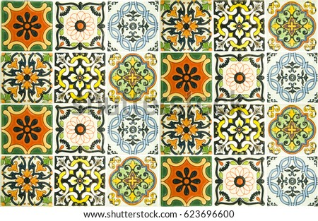 colorful vintage ceramic tiles...