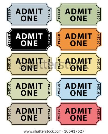 Colorful vintage cinema tickets.