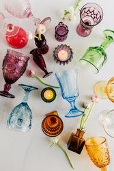 Colorful Vintage Rainbow Glassware Table Decor