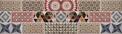 Colorful vintage retro geometric square mosaic motif cement tiles texture background banner panorama